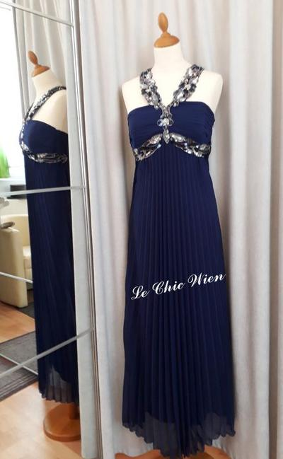 Abendkleid empire blau mit Pailletten