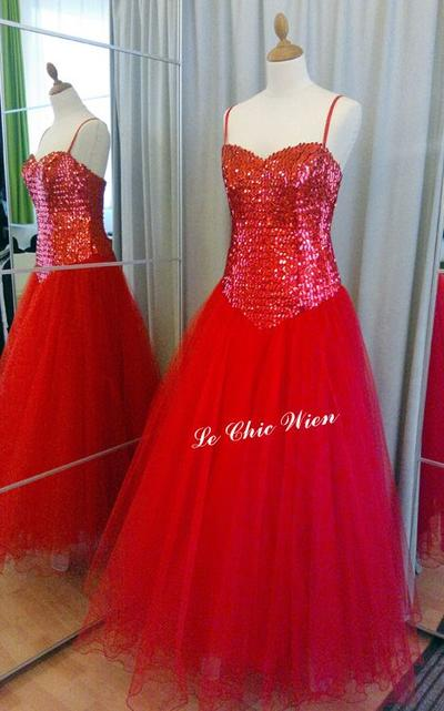 Ballgown red Pailletten, Tüll