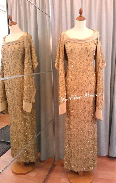 Designer dress gold Pailletten