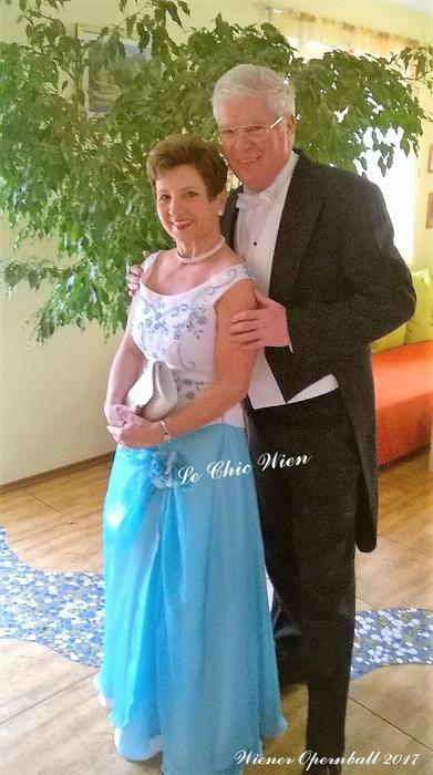 Dressed with ballgown and tailcoat  for the Vienna Opera Ball
